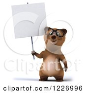 Clipart Of A 3d Brown Bear Mascot Wearing Glasses And Holding A Sign Royalty Free Illustration