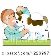 Clipart Of A Happy Male Veterinarian Checking A Puppy Dog Royalty Free Vector Illustration