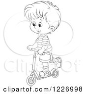 Clipart Of An Outlined Happy Boy Riding A Scooter Royalty Free Vector Illustration by Alex Bannykh