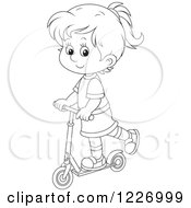 Clipart Of An Outlined Happy Girl Riding A Scooter Royalty Free Vector Illustration by Alex Bannykh