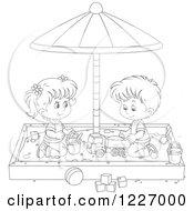Clipart Of An Outlined Girl And Boy Playing In A Sand Box Royalty Free Vector Illustration