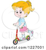 Clipart Of A Happy Cacuasian Girl Riding A Scooter Royalty Free Vector Illustration by Alex Bannykh