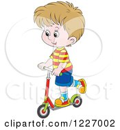 Clipart Of A Happy Cacuasian Boy Riding A Scooter Royalty Free Vector Illustration by Alex Bannykh