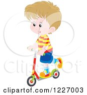 Clipart Of A Happy White Boy Riding A Scooter Royalty Free Vector Illustration by Alex Bannykh