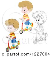 Clipart Of An Outlined And Colored Happy Boy Riding A Scooter Royalty Free Vector Illustration by Alex Bannykh