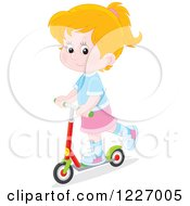 Clipart Of A Happy White Girl Riding A Scooter Royalty Free Vector Illustration by Alex Bannykh