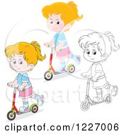 Clipart Of An Outlined And Colored Happy Riding A Scooter Royalty Free Vector Illustration by Alex Bannykh