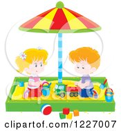 Clipart Of A White Girl And Boy Playing In A Sand Box Royalty Free Vector Illustration
