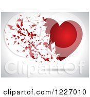 Clipart Of A Red Heart Exploding On A Shaded Background Royalty Free Vector Illustration by KJ Pargeter