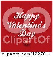 Happy Valentines Day Greeting Over Scratched Red With A Heart