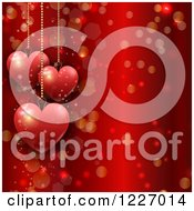 Clipart Of A Red Valentines Day Background With Suspended Hearts Flares And Stars Royalty Free Vector Illustration
