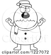 Clipart Of A Black And White Mad Christmas Snowman Royalty Free Vector Illustration