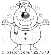 Clipart Of A Black And White Christmas Snowman Wanting A Hug Royalty Free Vector Illustration