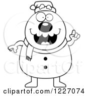 Clipart Of A Black And White Christmas Snowman With An Idea Royalty Free Vector Illustration