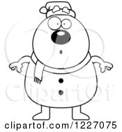 Clipart Of A Black And White Surprised Christmas Snowman Royalty Free Vector Illustration