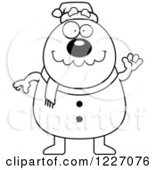 Clipart Of A Black And White Waving Christmas Snowman Royalty Free Vector Illustration