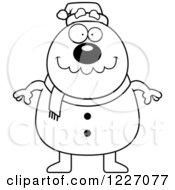 Clipart Of A Black And White Happy Christmas Snowman Royalty Free Vector Illustration