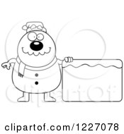 Clipart Of A Black And White Christmas Snowman With An Ice Sign Royalty Free Vector Illustration