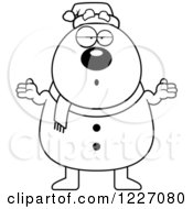 Clipart Of A Black And White Careless Shrugging Christmas Snowman Royalty Free Vector Illustration