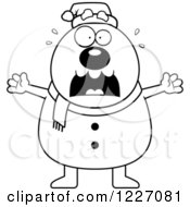 Clipart Of A Black And White Scared Christmas Snowman Screaming Royalty Free Vector Illustration