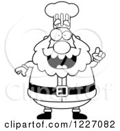 Clipart Of A Black And White Chef Santa With An Idea Royalty Free Vector Illustration