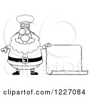 Clipart Of A Black And White Chef Santa Holding A Scroll Sign Royalty Free Vector Illustration