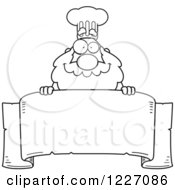 Clipart Of A Black And White Chef Santa Over A Scroll Banner Royalty Free Vector Illustration