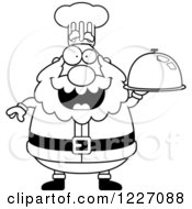 Clipart Of A Black And White Chef Santa Holding A Platter Cloche Royalty Free Vector Illustration