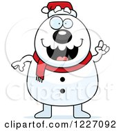 Clipart Of A Christmas Snowman With An Idea Royalty Free Vector Illustration