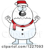 Clipart Of A Mad Christmas Snowman Royalty Free Vector Illustration