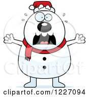 Clipart Of A Scared Christmas Snowman Screaming Royalty Free Vector Illustration