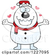 Clipart Of A Christmas Snowman Wanting A Hug Royalty Free Vector Illustration