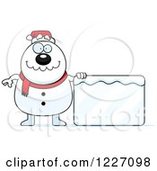 Clipart Of A Christmas Snowman With An Ice Sign Royalty Free Vector Illustration