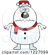 Clipart Of A Depressed Christmas Snowman Royalty Free Vector Illustration