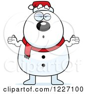 Clipart Of A Careless Shrugging Christmas Snowman Royalty Free Vector Illustration
