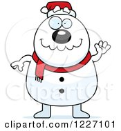 Clipart Of A Waving Christmas Snowman Royalty Free Vector Illustration