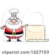 Clipart Of A Chef Santa Holding A Scroll Sign Royalty Free Vector Illustration