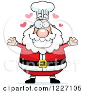 Clipart Of A Chef Santa With Open Arms And Hearts Royalty Free Vector Illustration