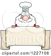 Clipart Of A Chef Santa Over A Scroll Banner Royalty Free Vector Illustration