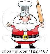 Clipart Of A Mad Chef Santa Holding Up A Rolling Pin Royalty Free Vector Illustration