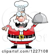 Clipart Of A Chef Santa Holding A Platter Cloche Royalty Free Vector Illustration