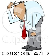 Clipart Of A Hispanic Businessman Bending Over To Look At Something Royalty Free Vector Illustration