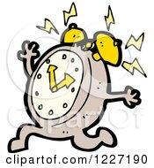 Clipart Of A Running Ringing Alarm Clock Royalty Free Vector Illustration