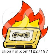 Clipart Of A Flaming Cassette Tape Royalty Free Vector Illustration
