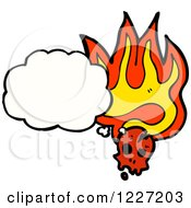 Poster, Art Print Of Thinking Skull With Flames