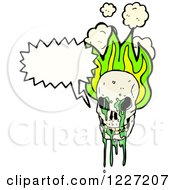 Poster, Art Print Of Talking Skull With Flames And Green Goo