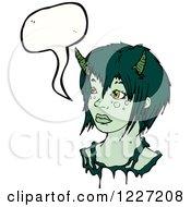 Clipart Of A Talking Devil Girl Royalty Free Vector Illustration