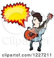 Clipart Of A Talking Guitarist Man Royalty Free Vector Illustration