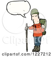 Clipart Of A Talking Hiker Man Royalty Free Vector Illustration
