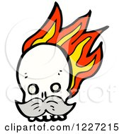 Clipart Of A Skull With Flames And A Mustache Royalty Free Vector Illustration by lineartestpilot